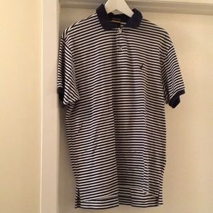 Nautica navy blue and white striped collared polo
